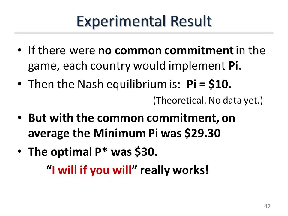 Experimental Result If there were no common commitment in the game, each country would implement Pi.