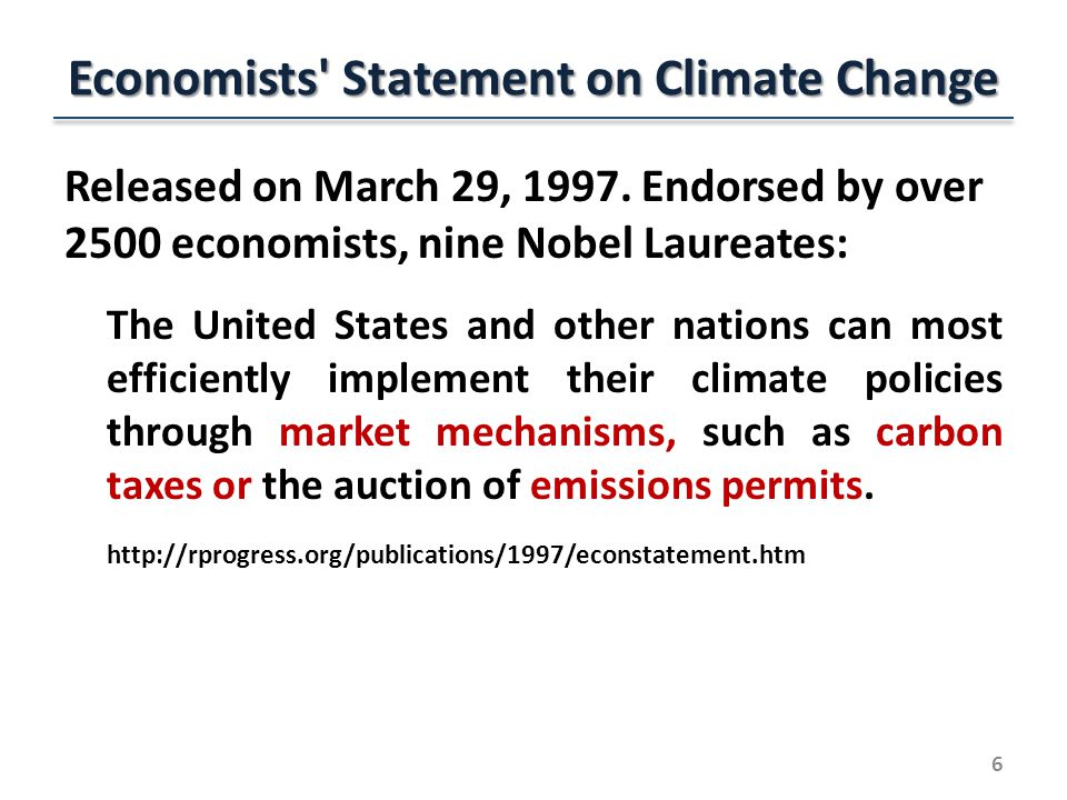 Economists Statement on Climate Change Released on March 29, 1997.