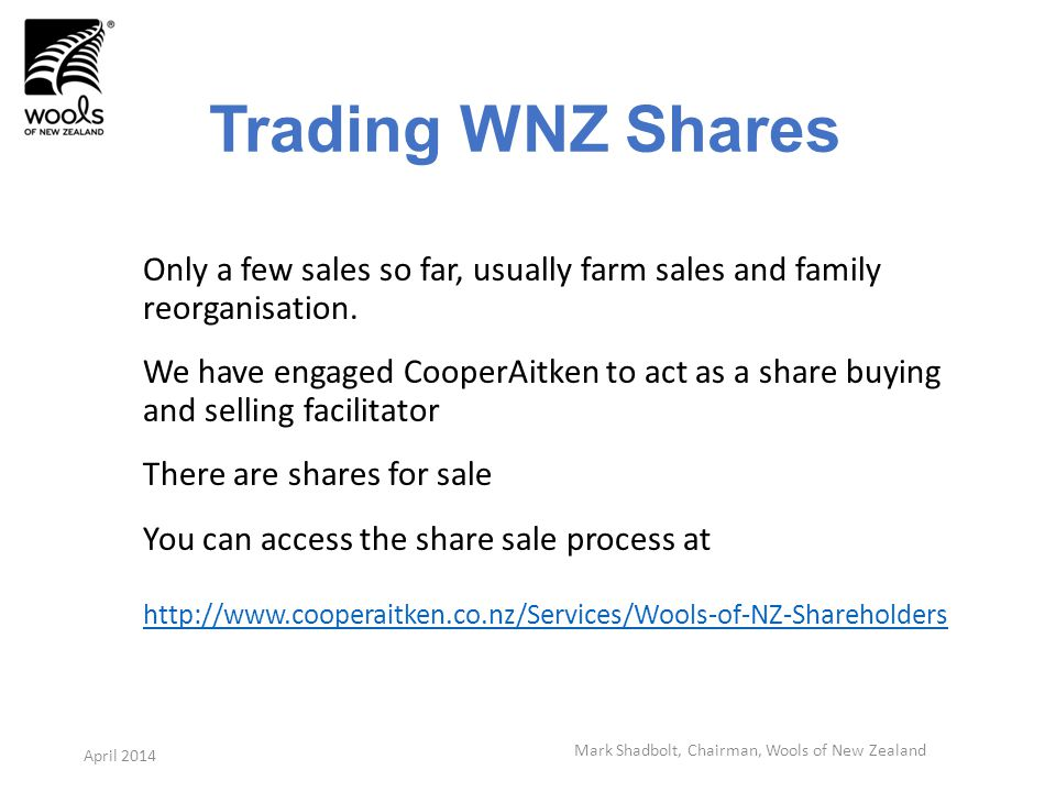 Trading WNZ Shares Only a few sales so far, usually farm sales and family reorganisation.