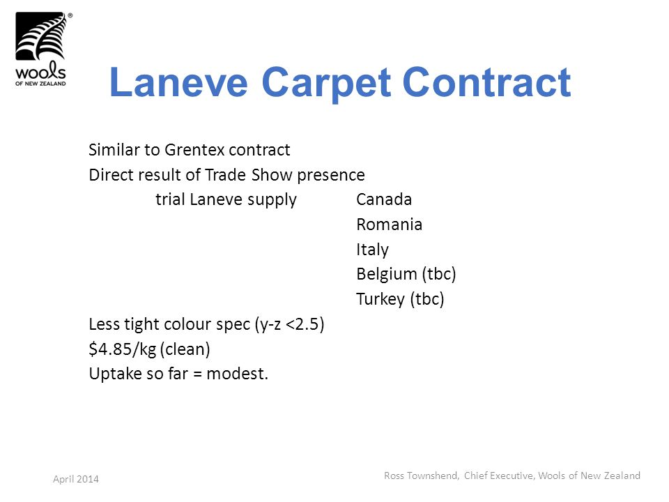 Laneve Carpet Contract Similar to Grentex contract Direct result of Trade Show presence trial Laneve supply Canada Romania Italy Belgium (tbc) Turkey (tbc) Less tight colour spec (y-z <2.5) $4.85/kg (clean) Uptake so far = modest.
