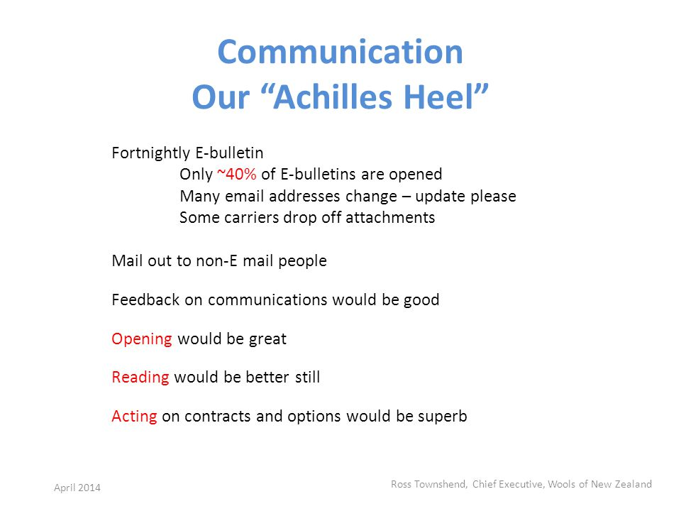 Communication Our Achilles Heel Fortnightly E-bulletin Only ~40% of E-bulletins are opened Many email addresses change – update please Some carriers drop off attachments Mail out to non-E mail people Feedback on communications would be good Opening would be great Reading would be better still Acting on contracts and options would be superb Ross Townshend, Chief Executive, Wools of New Zealand April 2014