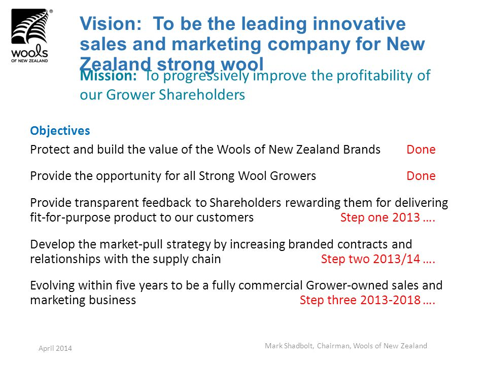 Vision: To be the leading innovative sales and marketing company for New Zealand strong wool Objectives Protect and build the value of the Wools of New Zealand Brands Done Provide the opportunity for all Strong Wool Growers Done Provide transparent feedback to Shareholders rewarding them for delivering fit-for-purpose product to our customers Step one 2013 ….