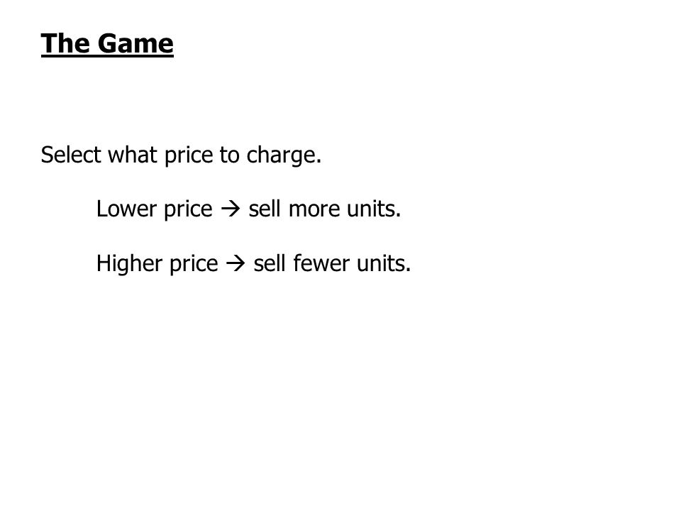 The Game Select what price to charge. Lower price sell more units. Higher price sell fewer units.