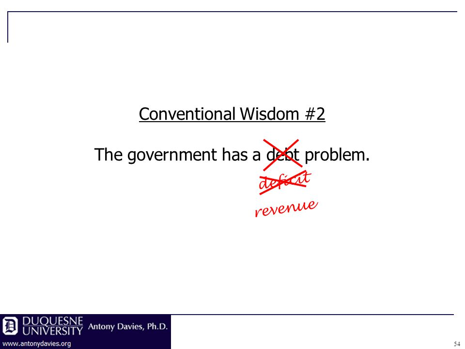 54 revenue Conventional Wisdom #2 The government has a debt problem. deficit