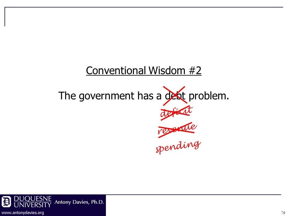 79 revenue Conventional Wisdom #2 The government has a debt problem. deficit spending