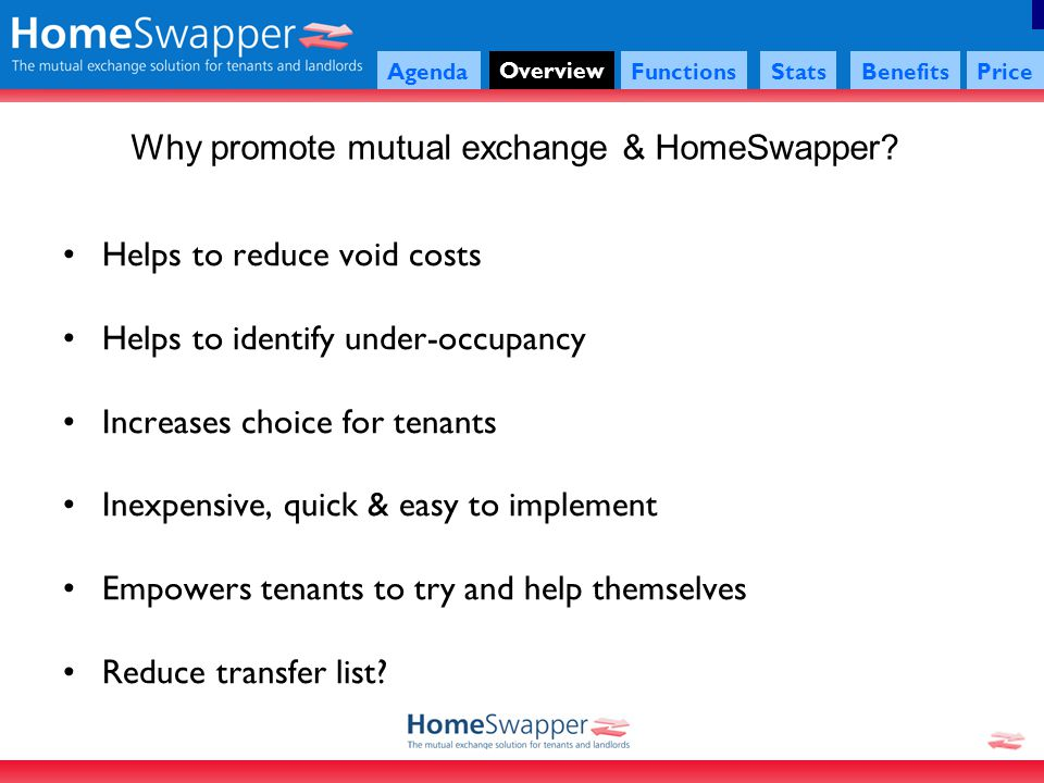Agenda Overview FunctionsStatsBenefitsPrice Why promote mutual exchange & HomeSwapper.