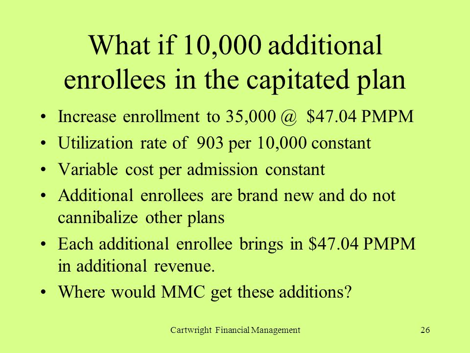 Cartwright Financial Management26 What if 10,000 additional enrollees in the capitated plan Increase enrollment to 35,000 @ $47.04 PMPM Utilization rate of 903 per 10,000 constant Variable cost per admission constant Additional enrollees are brand new and do not cannibalize other plans Each additional enrollee brings in $47.04 PMPM in additional revenue.