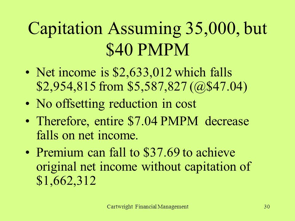 Cartwright Financial Management30 Capitation Assuming 35,000, but $40 PMPM Net income is $2,633,012 which falls $2,954,815 from $5,587,827 (@$47.04) No offsetting reduction in cost Therefore, entire $7.04 PMPM decrease falls on net income.