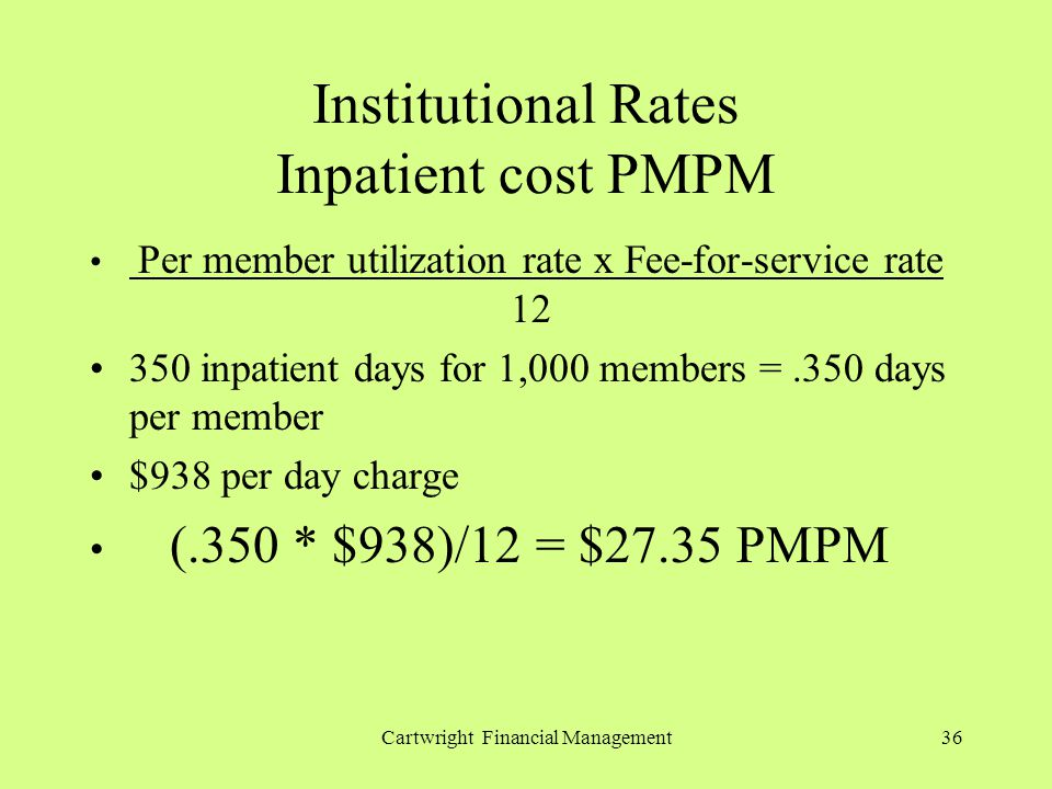 Cartwright Financial Management36 Institutional Rates Inpatient cost PMPM Per member utilization rate x Fee-for-service rate 12 350 inpatient days for 1,000 members =.350 days per member $938 per day charge (.350 * $938)/12 = $27.35 PMPM