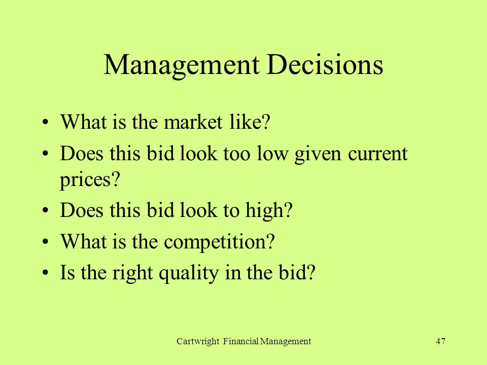 Cartwright Financial Management47 Management Decisions What is the market like.
