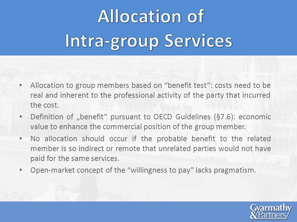 Allocation to group members based on benefit test: costs need to be real and inherent to the professional activity of the party that incurred the cost.