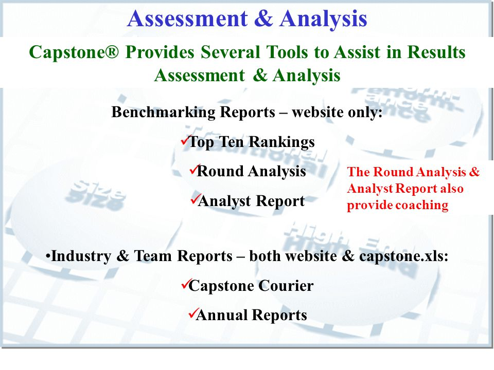 Assessment & Analysis Benchmarking Reports – website only: Top Ten Rankings Round Analysis Analyst Report The Round Analysis & Analyst Report also provide coaching Capstone® Provides Several Tools to Assist in Results Assessment & Analysis Industry & Team Reports – both website & capstone.xls: Capstone Courier Annual Reports