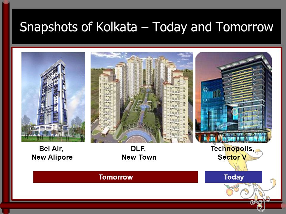 Snapshots of Kolkata – Today and Tomorrow Bel Air, New Alipore DLF, New Town Technopolis, Sector V TomorrowToday