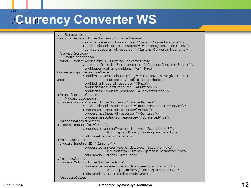 June 9, 2014Presented by Vassilya Abdulova 12 Currency Converter WS Price Converter Converts the given price to another currency.