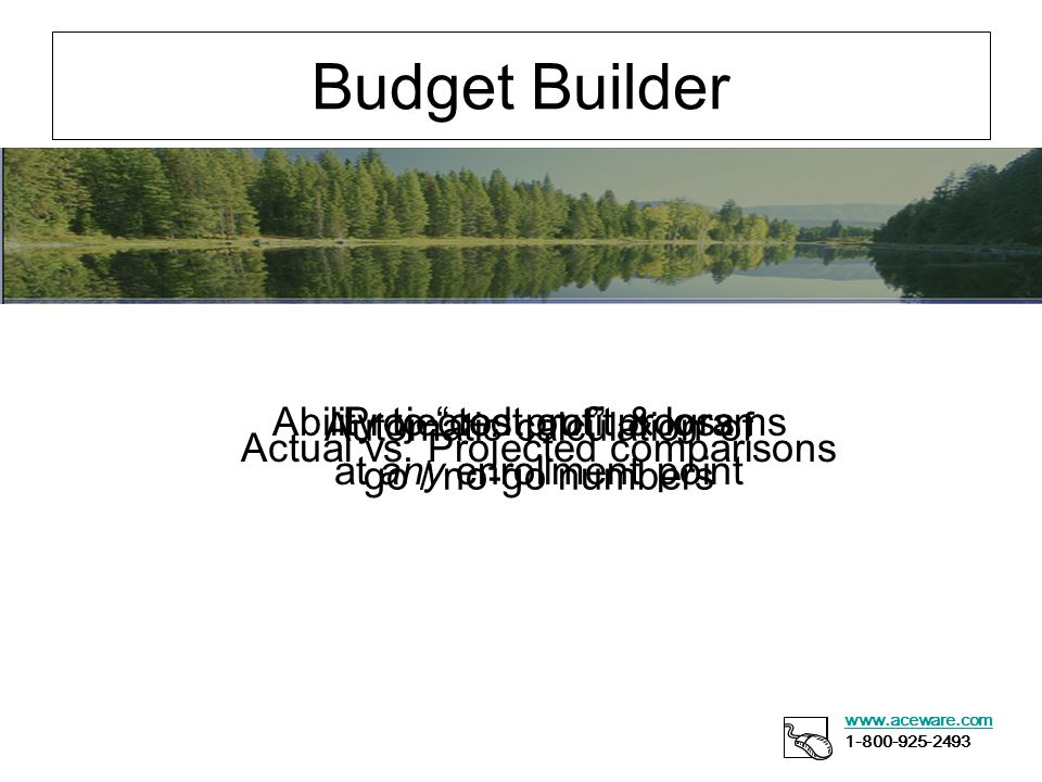 Budget Builder www.aceware.com 1-800-925-2493 Ability to cost out programs Automatic calculation of go / no-go numbers Projected profit & loss at any enrollment point Actual vs.