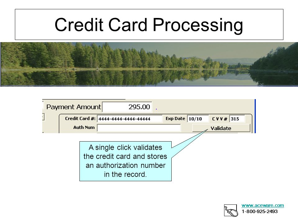 Credit Card Processing www.aceware.com 1-800-925-2493 A single click validates the credit card and stores an authorization number in the record.