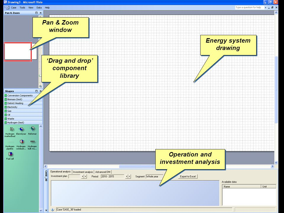 Drag and drop component library Drag and drop component library Energy system drawing Operation and investment analysis Pan & Zoom window