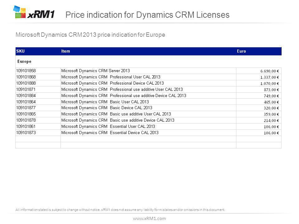 www.xRM1.com Price indication for Dynamics CRM Licenses Microsoft Dynamics CRM 2013 price indication for Europe All information stated is subject to change without notice.