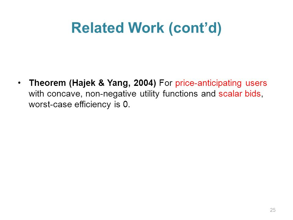 Related Work (contd) Theorem (Hajek & Yang, 2004) For price-anticipating users with concave, non-negative utility functions and scalar bids, worst-case efficiency is 0.
