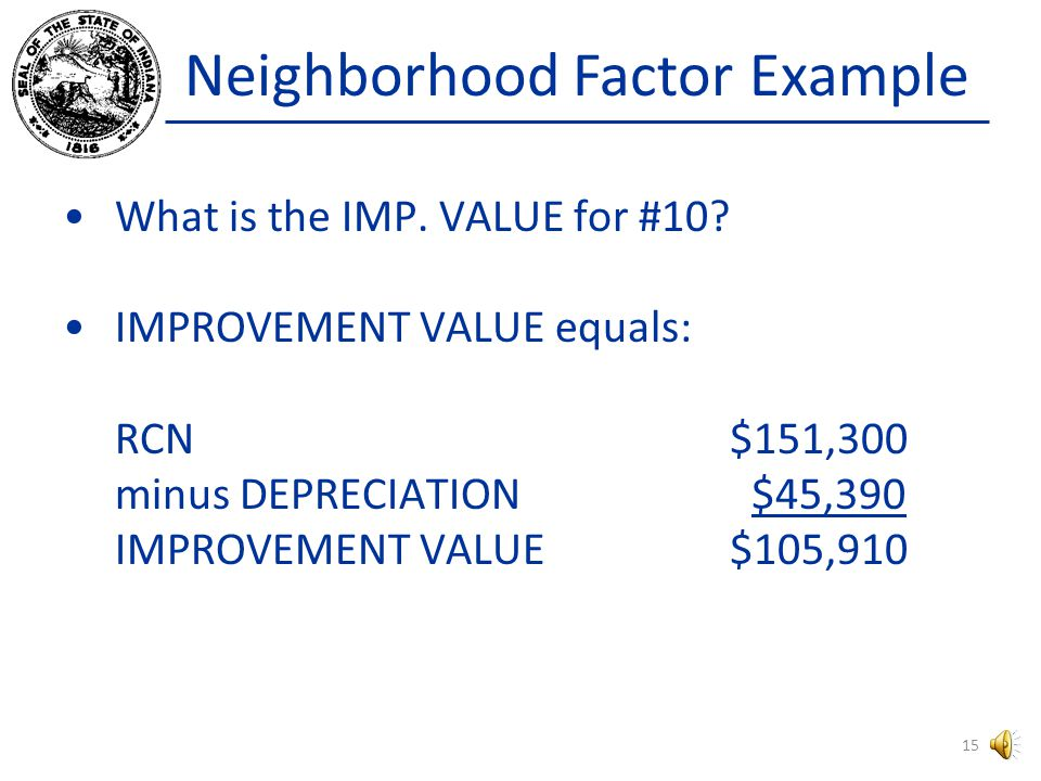 Neighborhood Factor Example The dwelling associated with Sale #10 has a Replacement Cost New of $151,300.