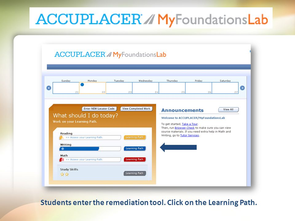 Students enter the remediation tool. Click on the Learning Path.