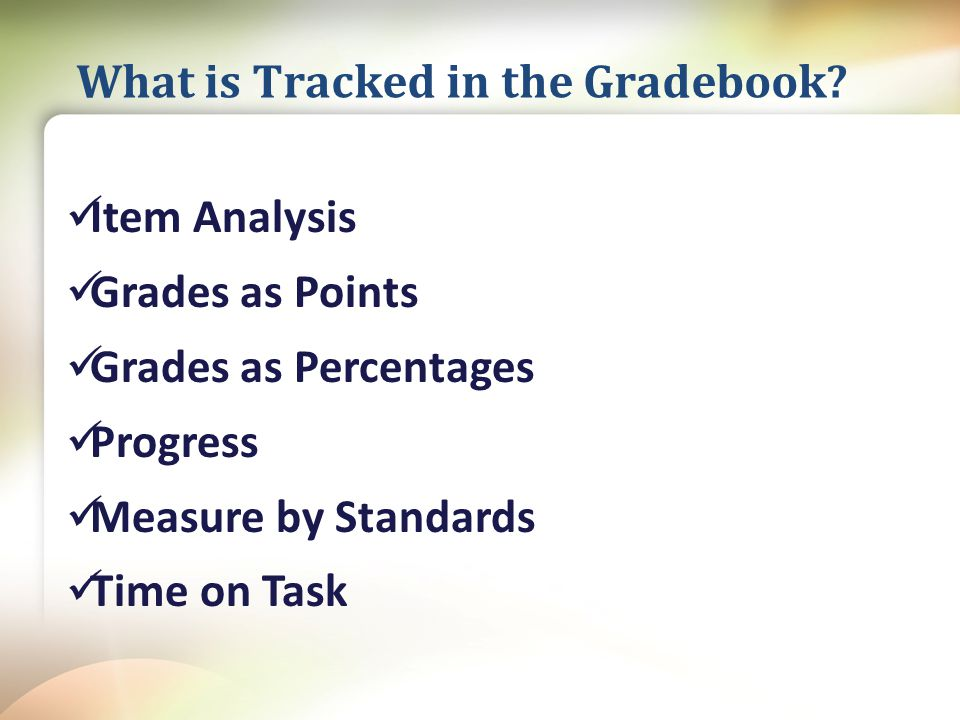 Item Analysis Grades as Points Grades as Percentages Progress Measure by Standards Time on Task What is Tracked in the Gradebook
