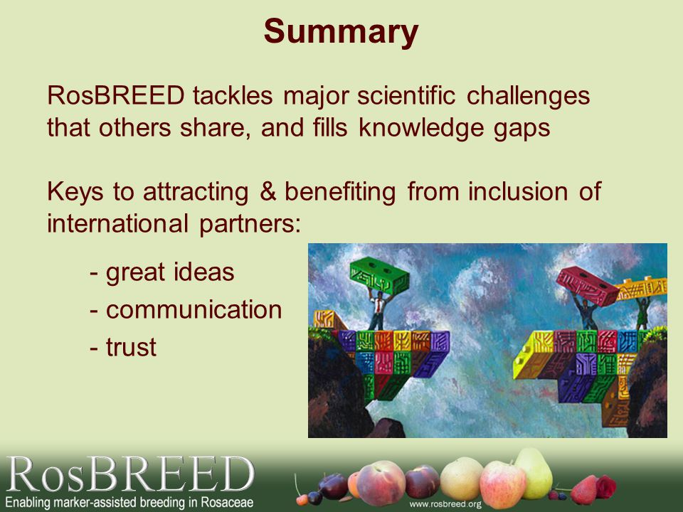 Summary RosBREED tackles major scientific challenges that others share, and fills knowledge gaps Keys to attracting & benefiting from inclusion of international partners: - great ideas - communication - trust