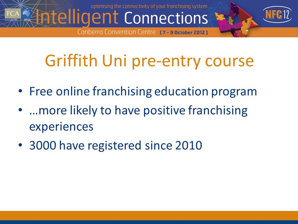 Griffith Uni pre-entry course Free online franchising education program …more likely to have positive franchising experiences 3000 have registered since 2010