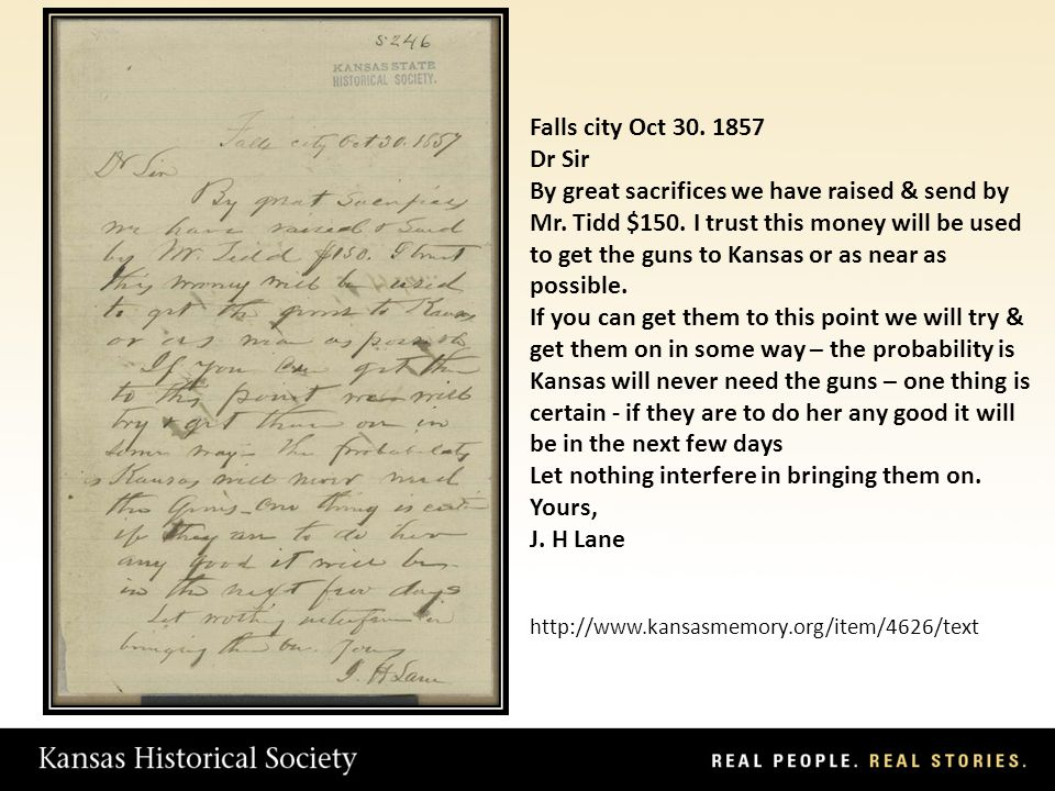 Falls city Oct 30. 1857 Dr Sir By great sacrifices we have raised & send by Mr.