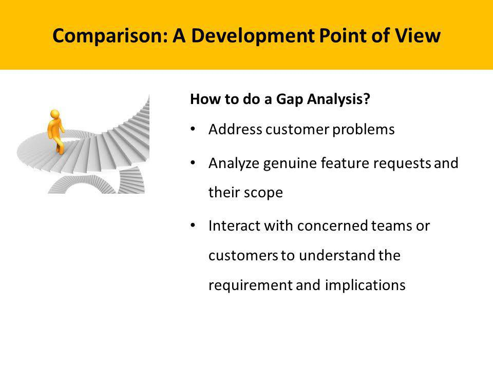 Comparison: A Development Point of View How to do a Gap Analysis.