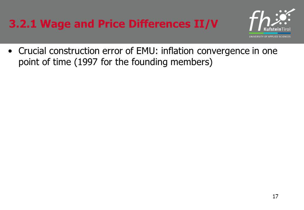 Crucial construction error of EMU: inflation convergence in one point of time (1997 for the founding members) 17 3.2.1 Wage and Price Differences II/V