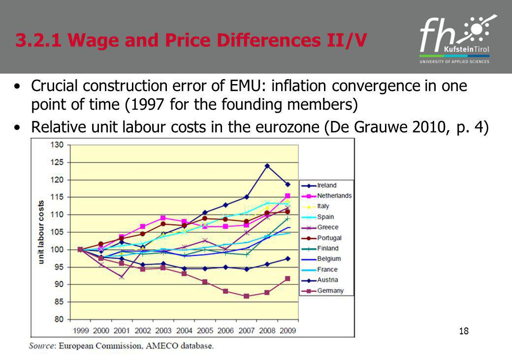 Crucial construction error of EMU: inflation convergence in one point of time (1997 for the founding members) Relative unit labour costs in the eurozone (De Grauwe 2010, p.