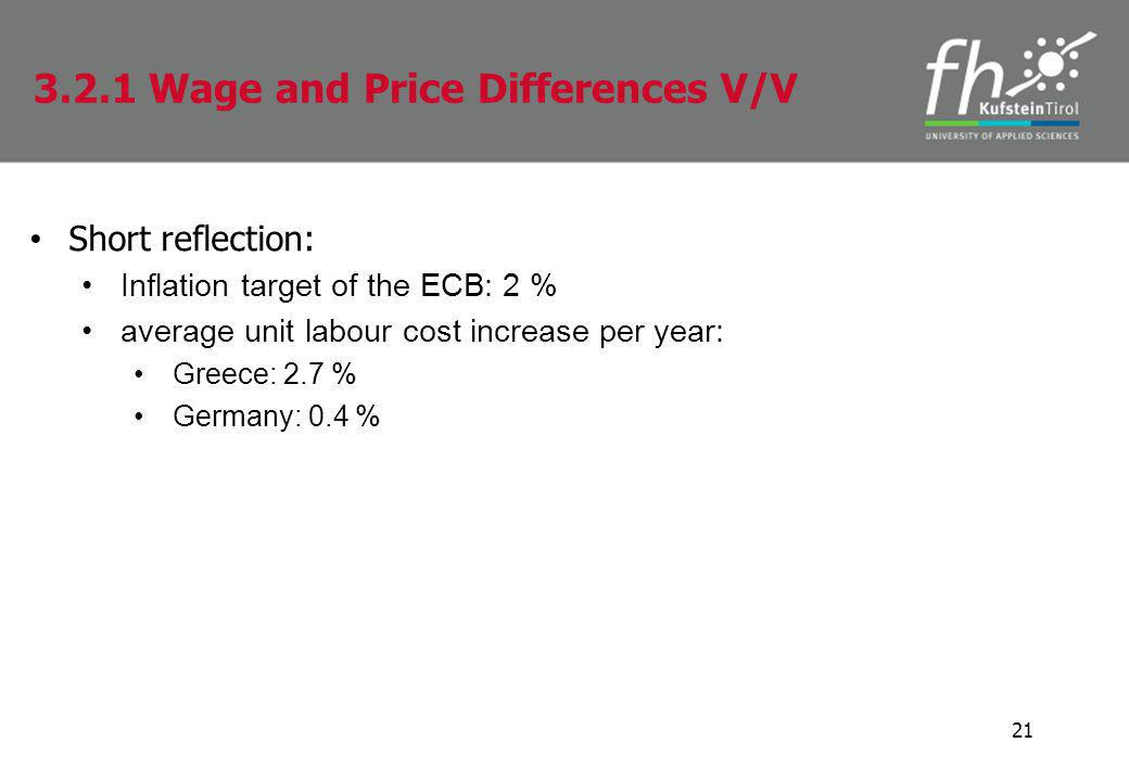 Short reflection: Inflation target of the ECB: 2 % average unit labour cost increase per year: Greece: 2.7 % Germany: 0.4 % 21 3.2.1 Wage and Price Differences V/V