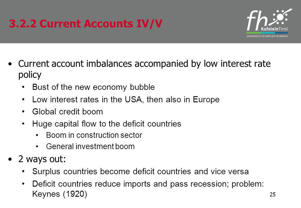 Current account imbalances accompanied by low interest rate policy Bust of the new economy bubble Low interest rates in the USA, then also in Europe Global credit boom Huge capital flow to the deficit countries Boom in construction sector General investment boom 2 ways out: Surplus countries become deficit countries and vice versa Deficit countries reduce imports and pass recession; problem: Keynes (1920) 25 3.2.2 Current Accounts IV/V