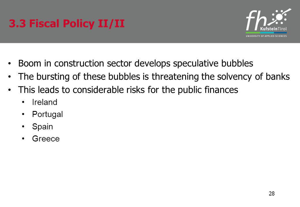 Boom in construction sector develops speculative bubbles The bursting of these bubbles is threatening the solvency of banks This leads to considerable risks for the public finances Ireland Portugal Spain Greece 28 3.3 Fiscal Policy II/II