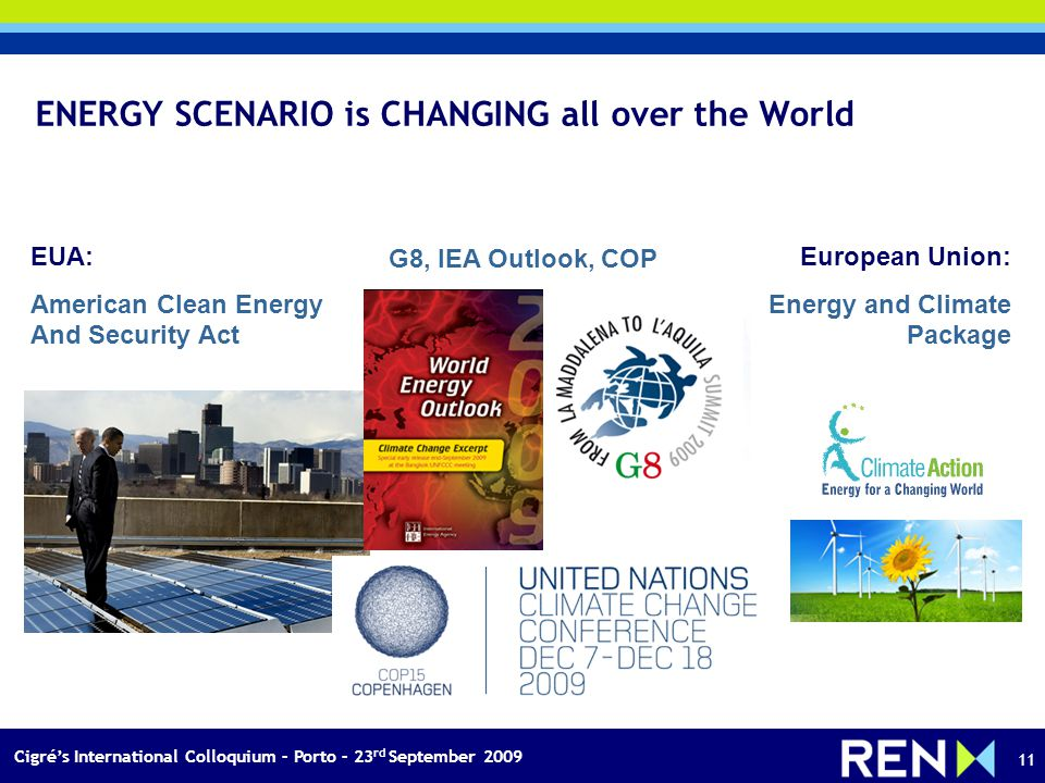 Cigrés International Colloquium – Porto – 23 rd September 2009 11 ENERGY SCENARIO is CHANGING all over the World EUA: American Clean Energy And Security Act European Union: Energy and Climate Package G8, IEA Outlook, COP