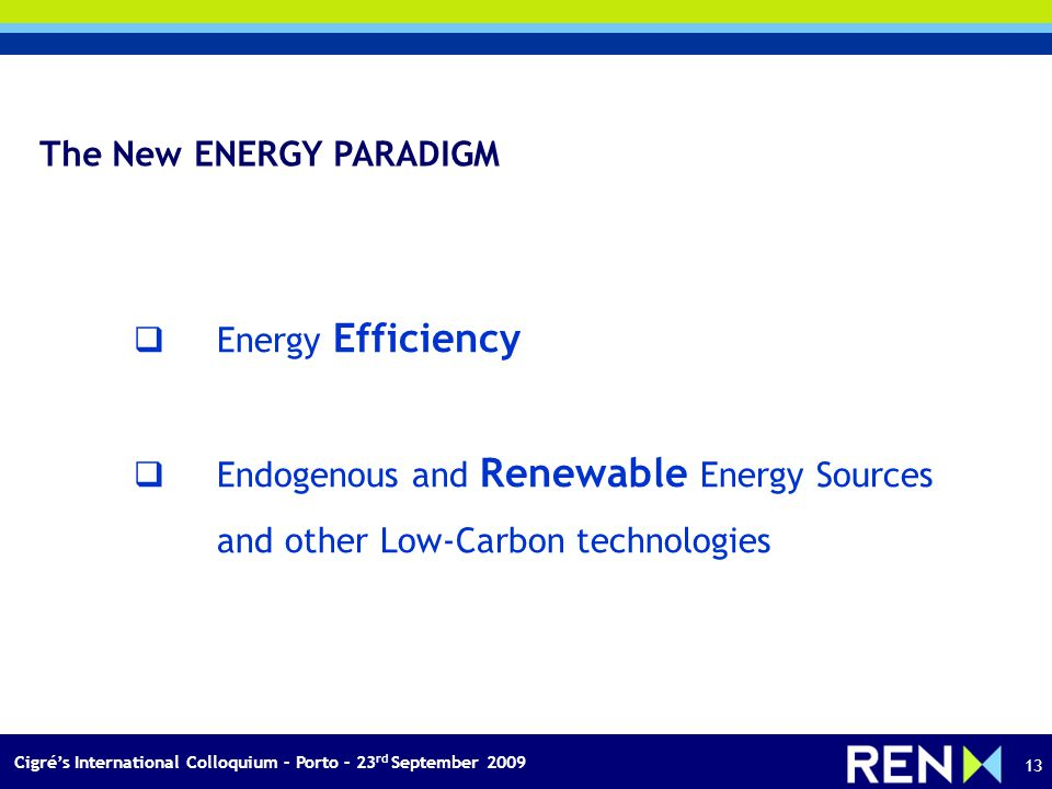 Cigrés International Colloquium – Porto – 23 rd September 2009 13 The New ENERGY PARADIGM Energy Efficiency Endogenous and Renewable Energy Sources and other Low-Carbon technologies