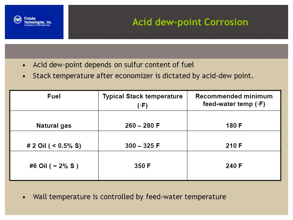 Acid dew-point depends on sulfur content of fuel Stack temperature after economizer is dictated by acid-dew point.