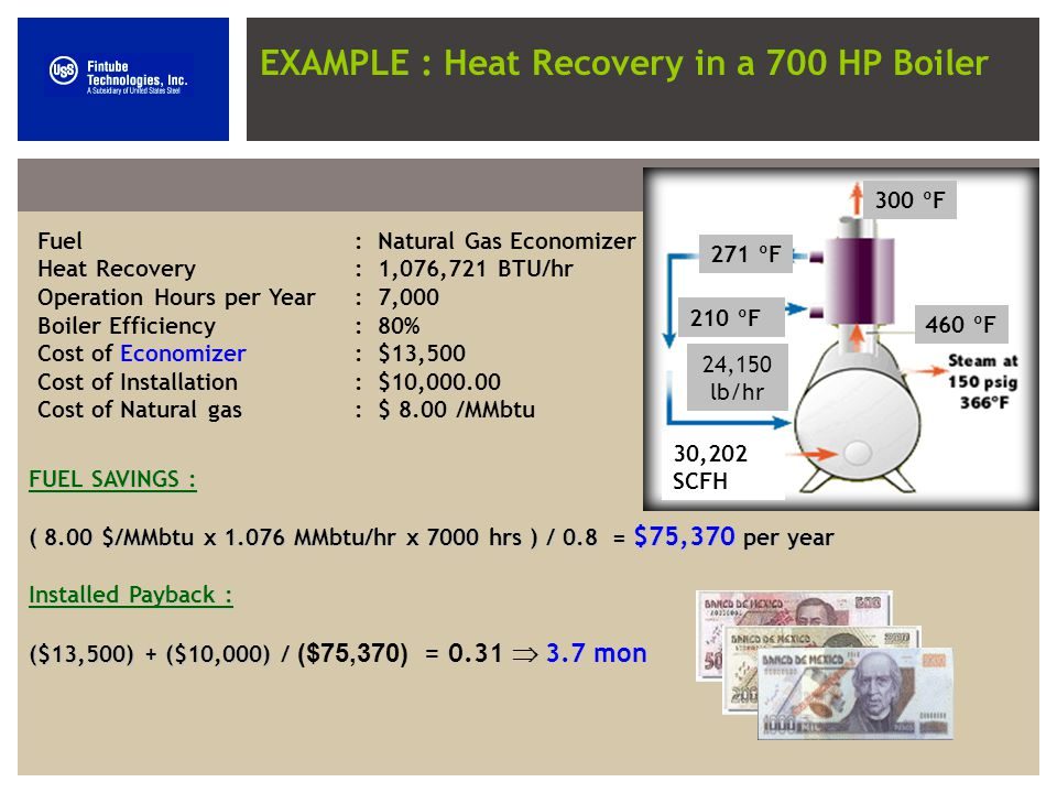 EXAMPLE : Heat Recovery in a 700 HP Boiler 300 ºF 460 ºF 271 ºF 210 ºF 24,150 lb/hr 30,202 SCFH Fuel: Natural Gas Economizer Heat Recovery : 1,076,721 BTU/hr Operation Hours per Year : 7,000 Boiler Efficiency: 80% Cost of Economizer: $13,500 Cost of Installation: $10,000.00 Cost of Natural gas: $ 8.00 /MMbtu FUEL SAVINGS : ( 8.00$/MMbtu x 1.076 MMbtu/hr x 7000 hrs ) / 0.8 = $75,370 per year ( 8.00 $/MMbtu x 1.076 MMbtu/hr x 7000 hrs ) / 0.8 = $75,370 per year Installed Payback : ($13,500) + ($10,000) / ($13,500) + ($10,000) / ($75,370) = 0.31 3.7 mon