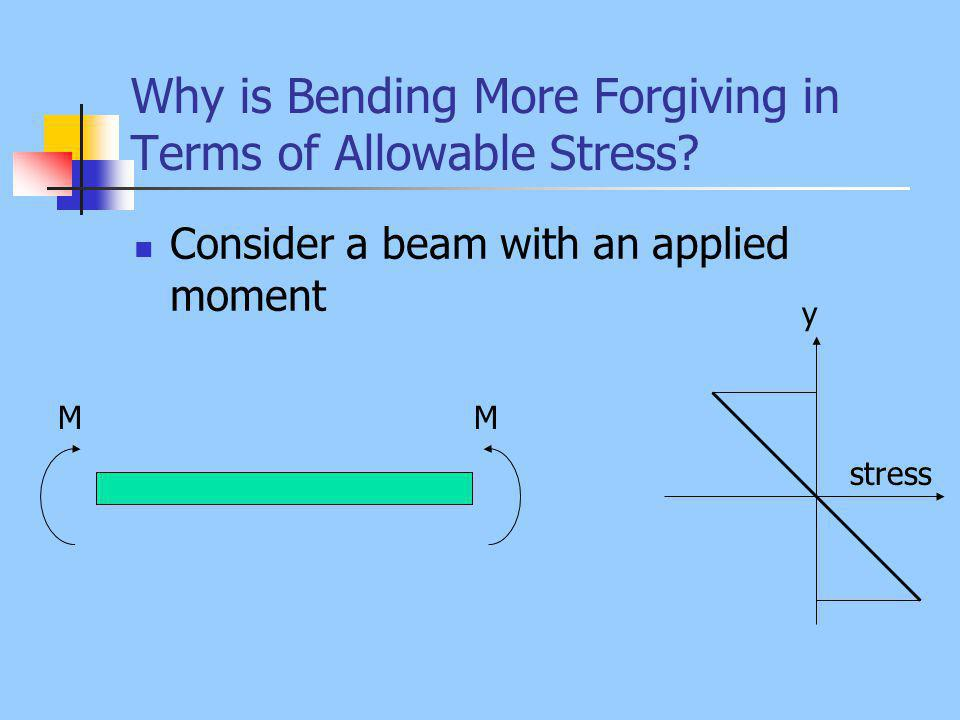 Why is Bending More Forgiving in Terms of Allowable Stress.