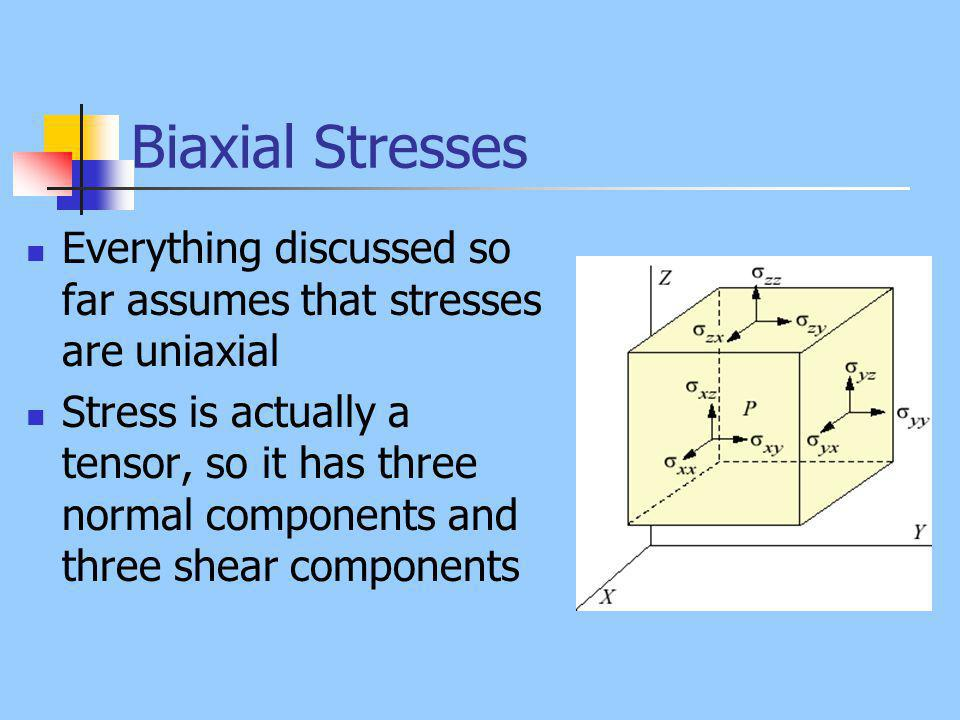 Biaxial Stresses Everything discussed so far assumes that stresses are uniaxial Stress is actually a tensor, so it has three normal components and three shear components