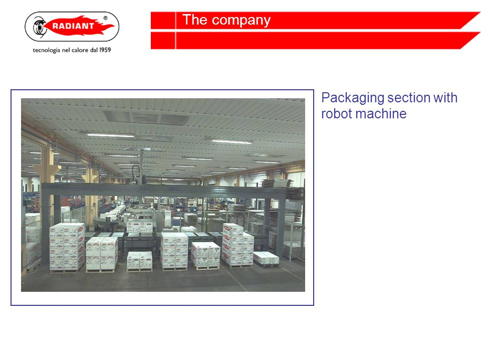Packaging section with robot machine