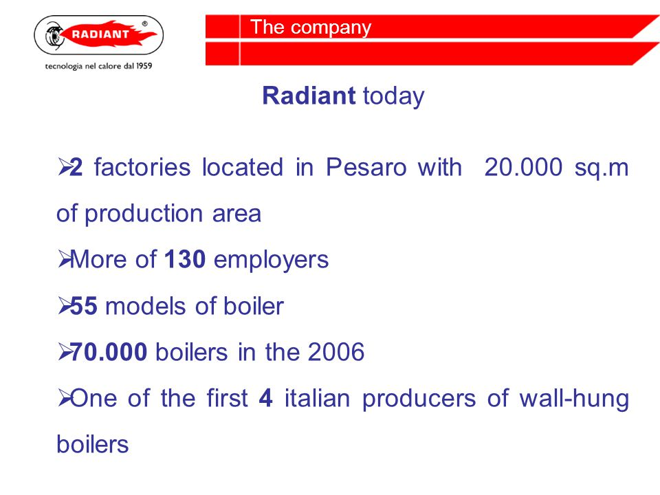 Radiant today 2 factories located in Pesaro with 20.000 sq.m of production area More of 130 employers 55 models of boiler 70.000 boilers in the 2006 One of the first 4 italian producers of wall-hung boilers The company