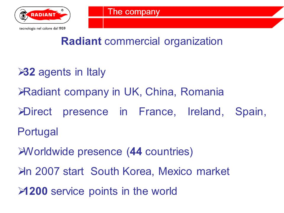 Radiant commercial organization 32 agents in Italy Radiant company in UK, China, Romania Direct presence in France, Ireland, Spain, Portugal Worldwide presence (44 countries) In 2007 start South Korea, Mexico market 1200 service points in the world