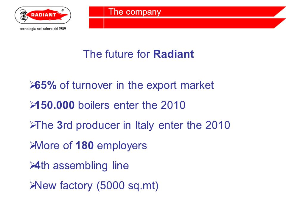The future for Radiant 65% of turnover in the export market 150.000 boilers enter the 2010 The 3rd producer in Italy enter the 2010 More of 180 employers 4th assembling line New factory (5000 sq.mt)