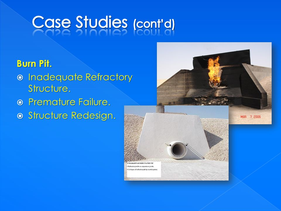 Burn Pit. Inadequate Refractory Structure. Inadequate Refractory Structure.