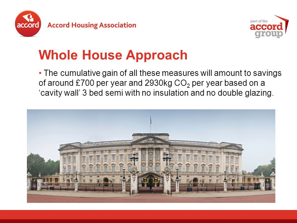 Whole House Approach The cumulative gain of all these measures will amount to savings of around £700 per year and 2930kg CO 2 per year based on a cavity wall 3 bed semi with no insulation and no double glazing.