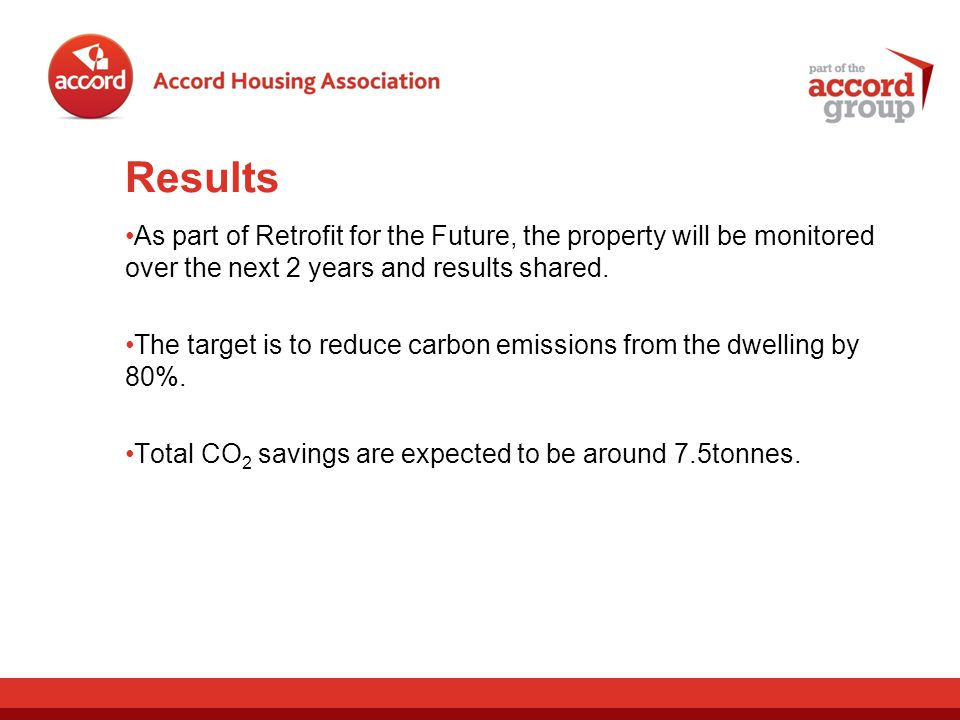 Results As part of Retrofit for the Future, the property will be monitored over the next 2 years and results shared.
