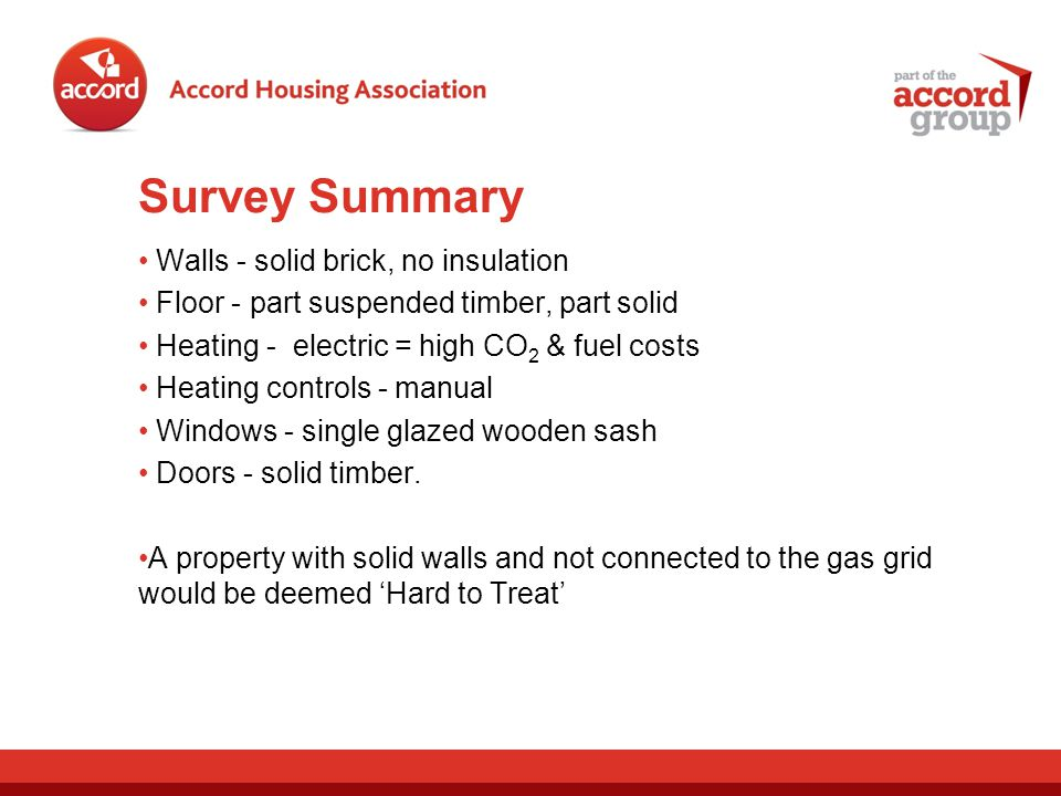 Survey Summary Walls - solid brick, no insulation Floor - part suspended timber, part solid Heating - electric = high CO 2 & fuel costs Heating controls - manual Windows - single glazed wooden sash Doors - solid timber.