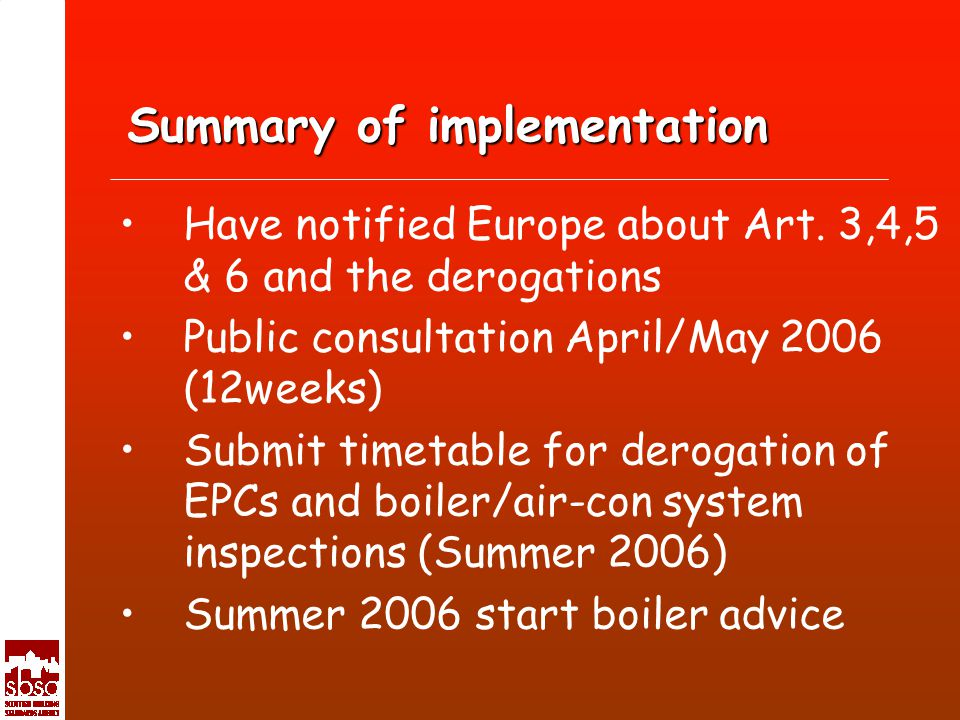Summary of implementation Have notified Europe about Art.